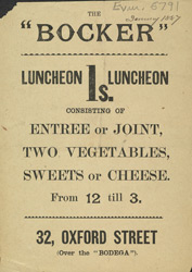 Advert for the Bocker Restaurant